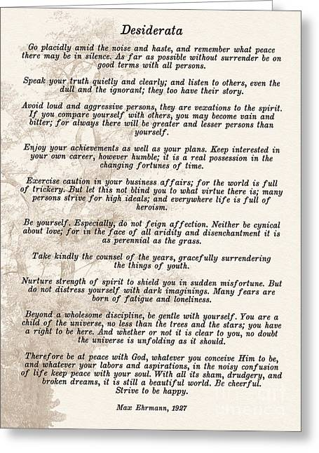 Prose Poem Desiderata By Max Ehrmann  Greeting Card