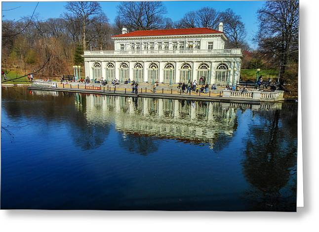 Prospect Park Boathouse Greeting Card by Jon Woodhams