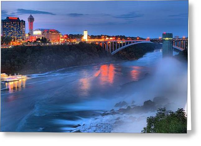 Prospect Point Panorama At Niagara Falls Greeting Card by Adam Jewell