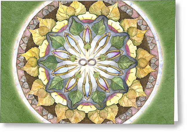 Prosperity Mandala Greeting Card by Jo Thomas Blaine