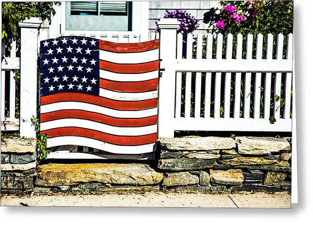Protected By The Flag Greeting Card by Karol Livote