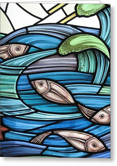 Salmon Glass Art Greeting Cards - Protection Island Seascape Greeting Card by Gilroy Stained Glass