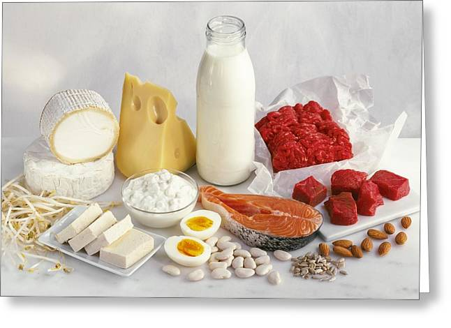 Protein-rich Foods Greeting Card by Science Photo Library