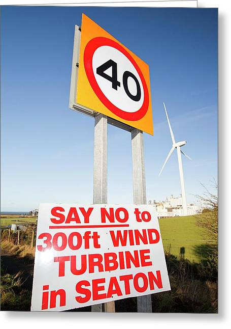 Protest Sign About A New Wind Turbine Greeting Card by Ashley Cooper