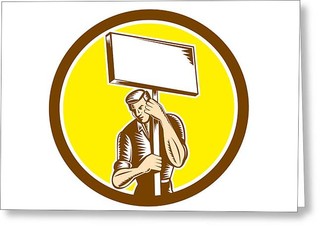 Protester Activist Union Worker Placard Sign Woodcut Greeting Card by Aloysius Patrimonio