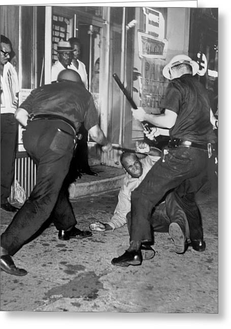 Protester Clubbed In Harlem Greeting Card by Underwood Archives