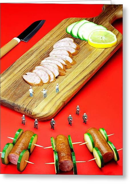 Protesting Kill The Sausages Little People On Food Greeting Card by Paul Ge