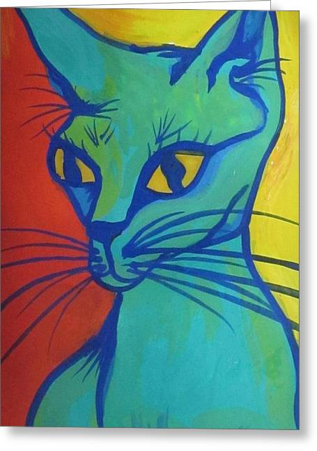 Proud Cat Greeting Card by Cherie Sexsmith