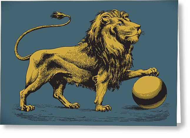 Proud Lion Greeting Card by Viv Griffiths
