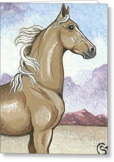 Proud Palomino Stallion In The Desert Greeting Card by Sherry Goeben