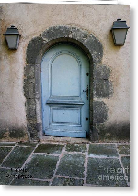 Provence Blue Door Greeting Card by Lainie Wrightson