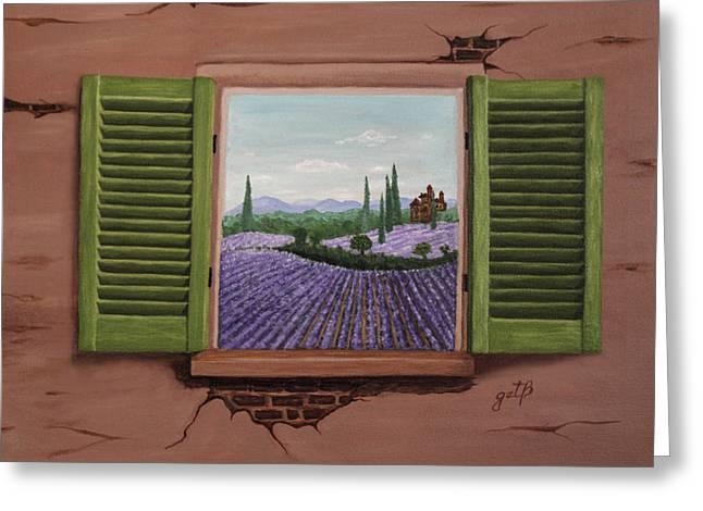 Greeting Card featuring the painting Provence Lavander Fields Original Acrylic by Georgeta Blanaru