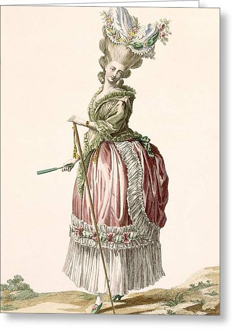 Provencial Style Ladys Walking Gown Greeting Card by Claude Louis Desrais