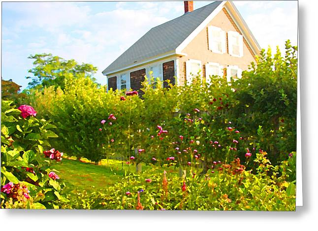Provincetown Cottage With Green Brown And Pink Greeting Card by Brooke T Ryan