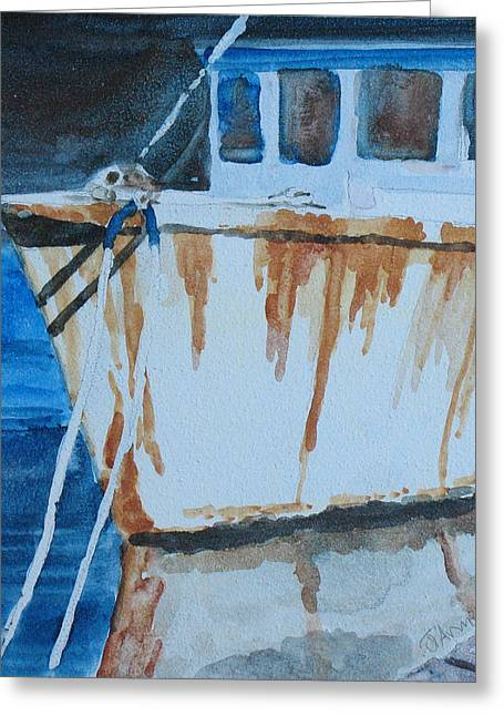 Prow Reflected Greeting Card by Jenny Armitage