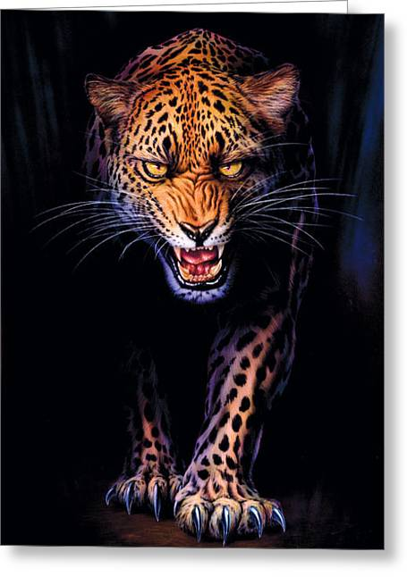 Prowling Leopard Crop 1 Greeting Card by Andrew Farley