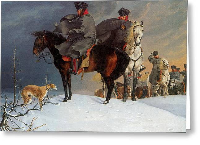 Prussian Cavalry Outpost In The Snow Greeting Card by Franz Kruger