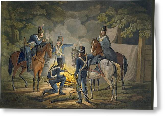 Prussian Hussars On A Night Picket Greeting Card by Conrad Gessner