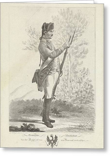 Prussian Musketeer With Musket And Bayonet Greeting Card by Mathias De Sallieth