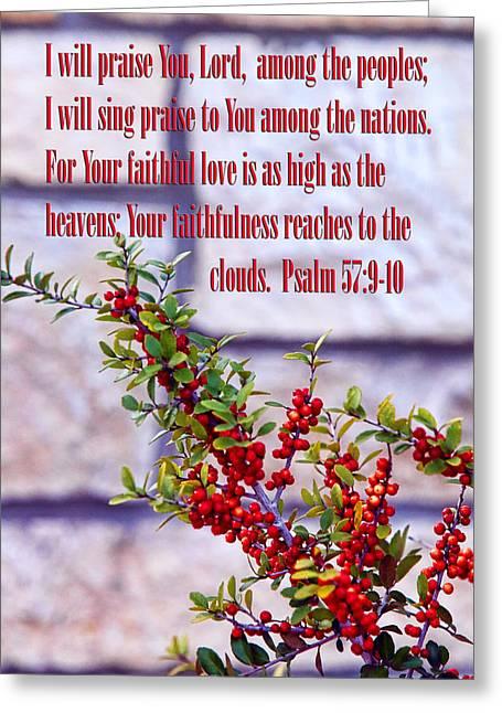 Pryacanthia Red Berries Ps. 57v9-10 Greeting Card by Linda Phelps