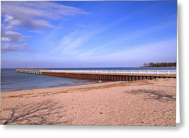 Prybil Beach Pier Greeting Card by Bob Slitzan