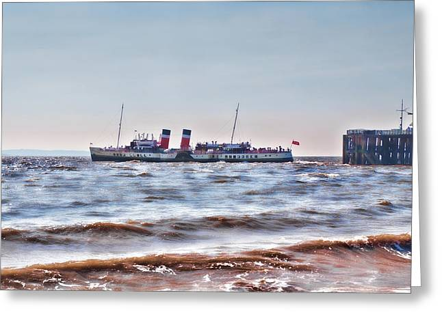 Ps Waverley Leaves Penarth Pier 2 Greeting Card by Steve Purnell