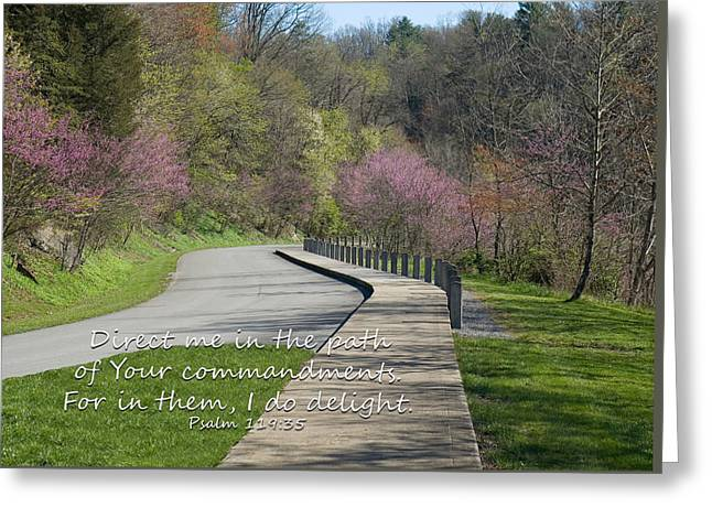 Psalm 119 Direct Me In The Path Greeting Card
