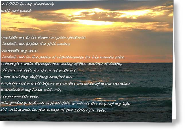 Psalm 23 Beach Sunset Greeting Card by Dan Sproul