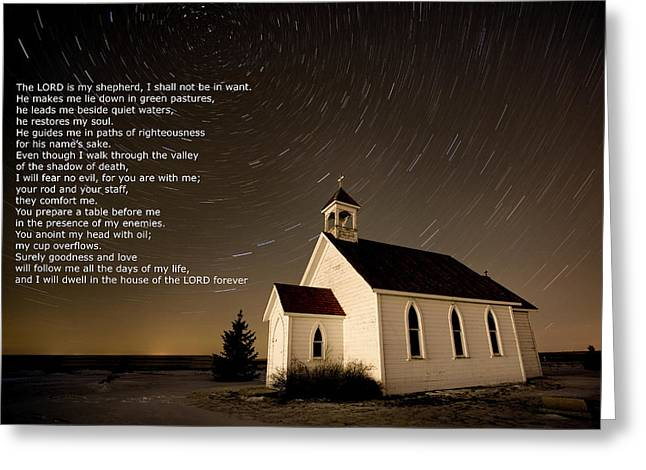 Psalm 23 Night Photography Star Trails Greeting Card by Mark Duffy
