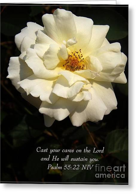 Psalm 55 22 Greeting Card by Sara  Raber