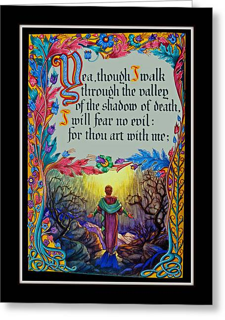 Psalms 23-4a Greeting Card by Tikvah's Hope