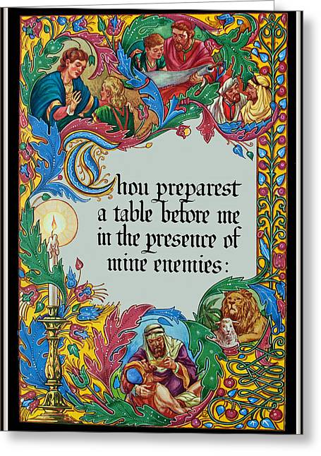Psalms 23-5a Greeting Card by Tikvah's Hope