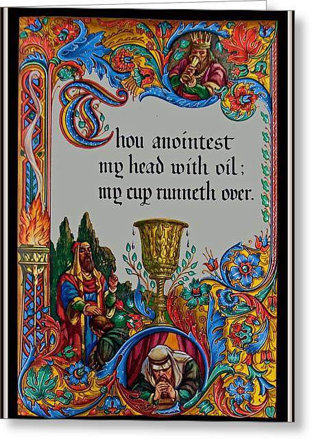 Psalms 23-5b Greeting Card by Tikvah's Hope