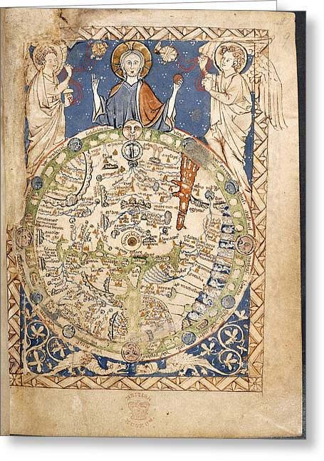 Psalter World Mappa Mundi Greeting Card by British Library