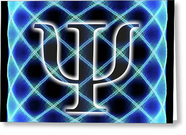 Psi Symbol And Artwork Of A Wavefunction Greeting Card by Alfred Pasieka