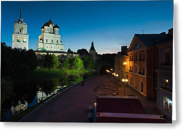 Pskov Kremlin And Trinity Cathedral Greeting Card by Panoramic Images