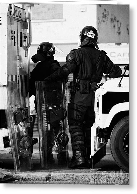 Psni Officers In Protective Riot Gear At Landrovers On Crumlin Road At Ardoyne Shops Belfast 12th Ju Greeting Card