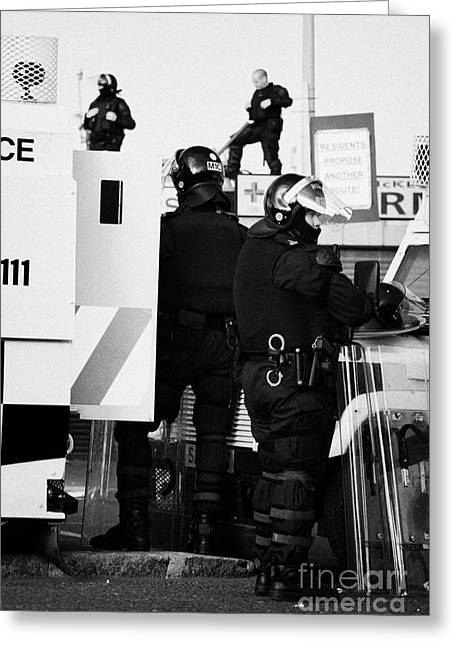 Psni Riot Squad Officers In Protective Gear And Snipers On Crumlin Road At Ardoyne Shops Belfast 12t Greeting Card