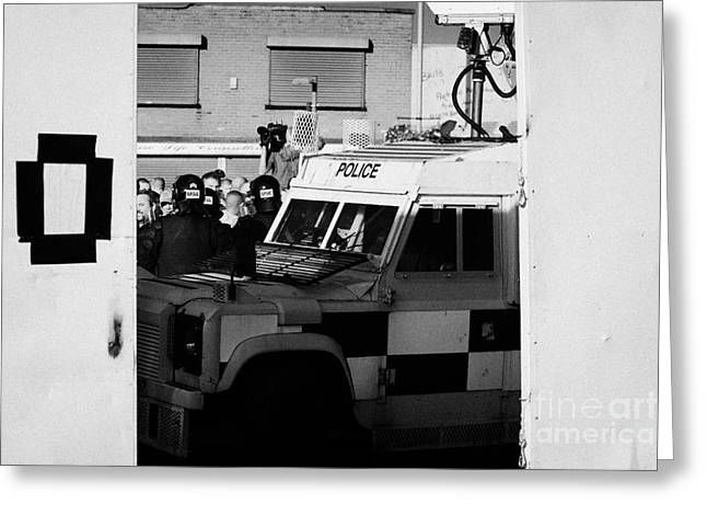 Psni Surveillance Land Rover Watches Crowd On Crumlin Road At Ardoyne Shops Belfast 12th July Greeting Card
