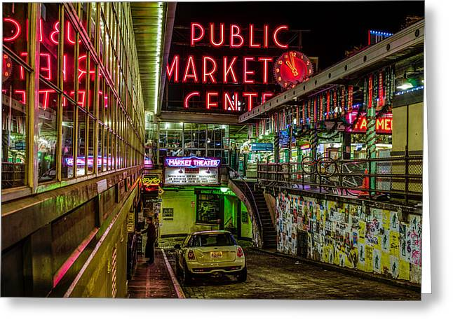 Psychadelic Midnight Colors At Pike Place Market Greeting Card by Brian Xavier
