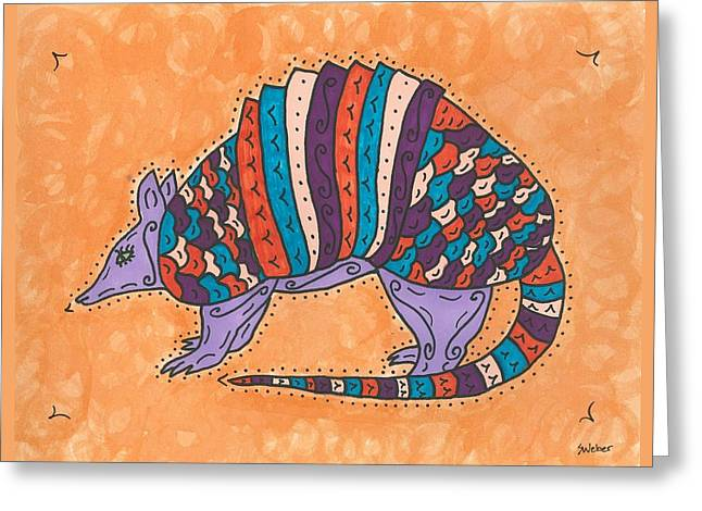 Psychedelic Armadillo Greeting Card