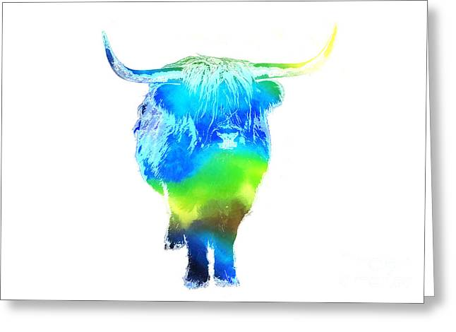 Psychedelic Bovine #2 Greeting Card by Pixel  Chimp