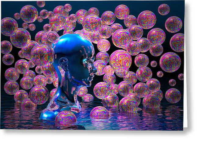 Psychedelic Bubbles Greeting Card by Carol and Mike Werner