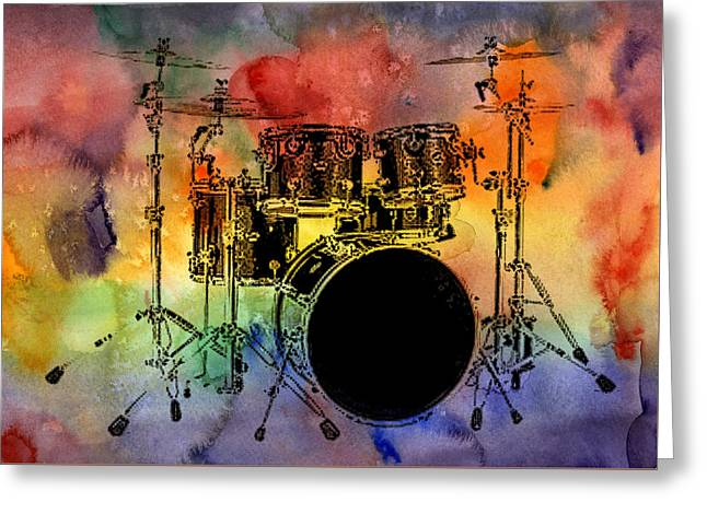 Psychedelic Drum Set Greeting Card