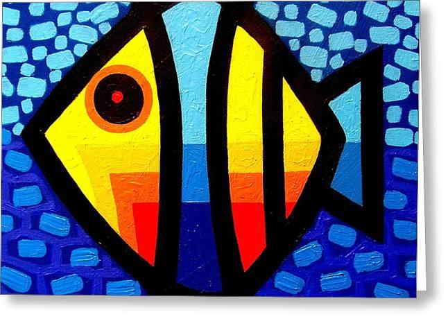 Psychedelic Fish Greeting Card by John  Nolan