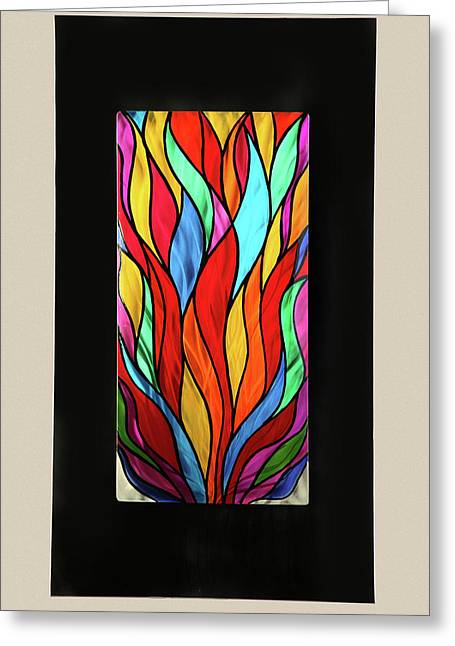 Psychedelic Flames Greeting Card by Rick Roth