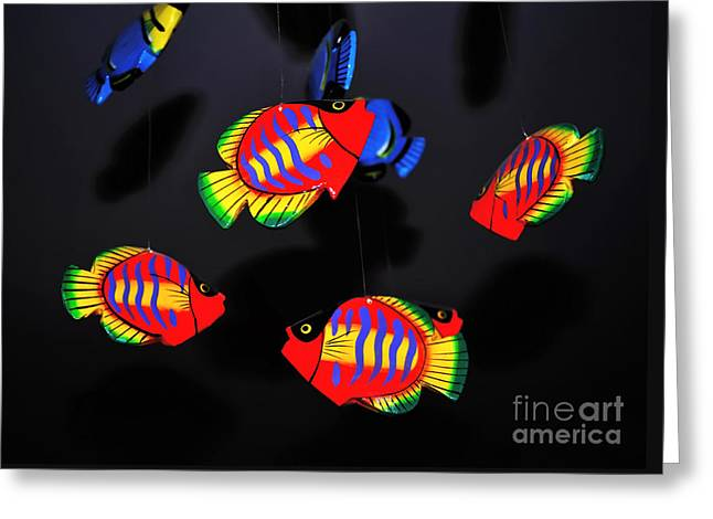 Psychedelic Flying Fish Greeting Card