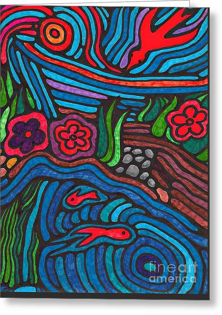Psychedelic Garden 3 Greeting Card by Sarah Loft