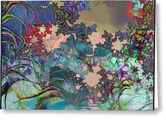 Greeting Card featuring the digital art Psychedelic Garden by Ursula Freer