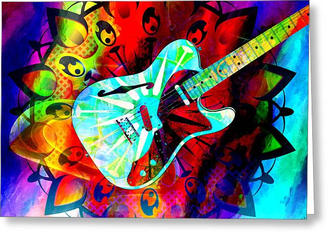 Psychedelic Guitar Greeting Card